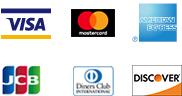 VISA、Mastercard、SAISON、JCB、American Express、Diners Clubでクレジットカード決済